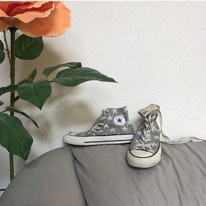 converse blue star printed high top sneakers